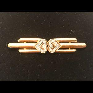 Vintage MONET double heart brooch